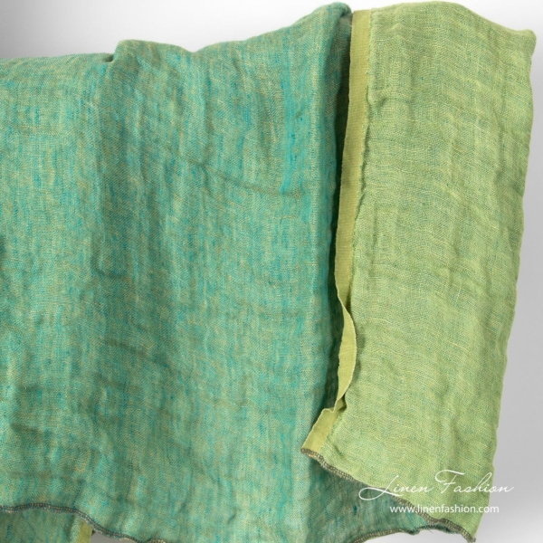 Double sided green linen fabric, washed