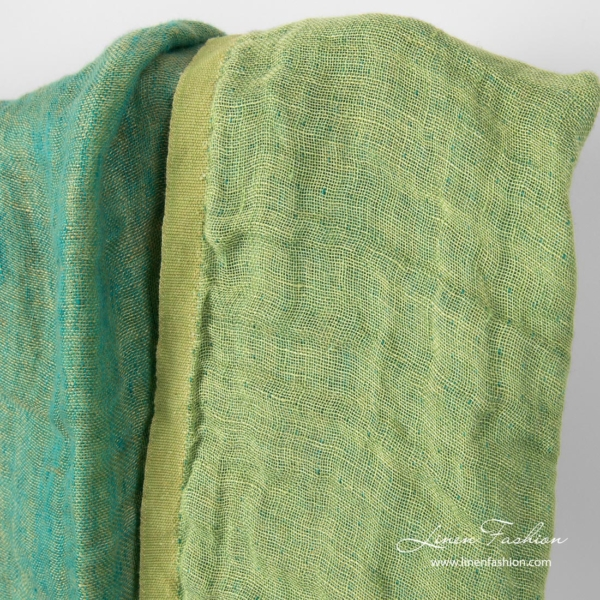 Washed double sided light green linen fabric