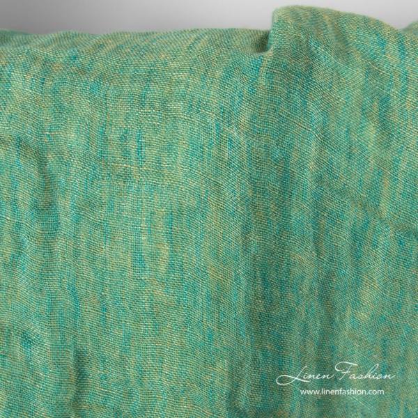 Washed green linen fabric, double layer