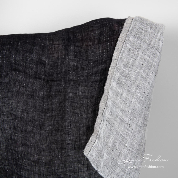 Black and white linen fabric, double sided, washed