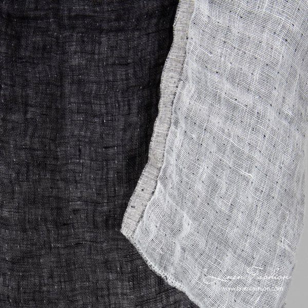 Washed double sided linen fabric in black white
