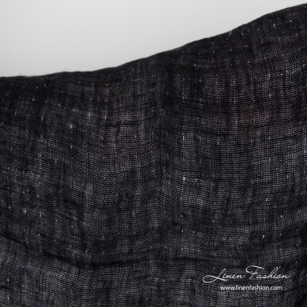 Washed double sided linen fabric, black side