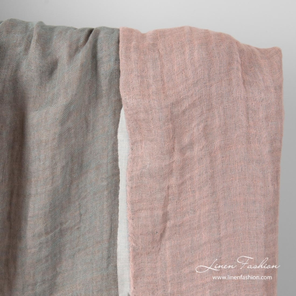 Double sided linen fabric in pink and green-grey