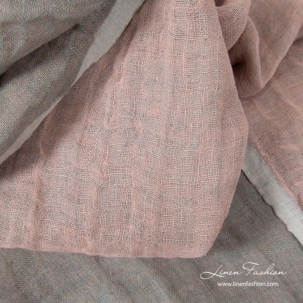 Pink, greenish grey two sided & double layer linen fabric, softened