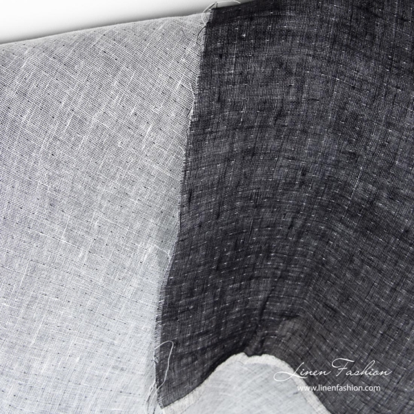 Double sided linen fabric in black and white