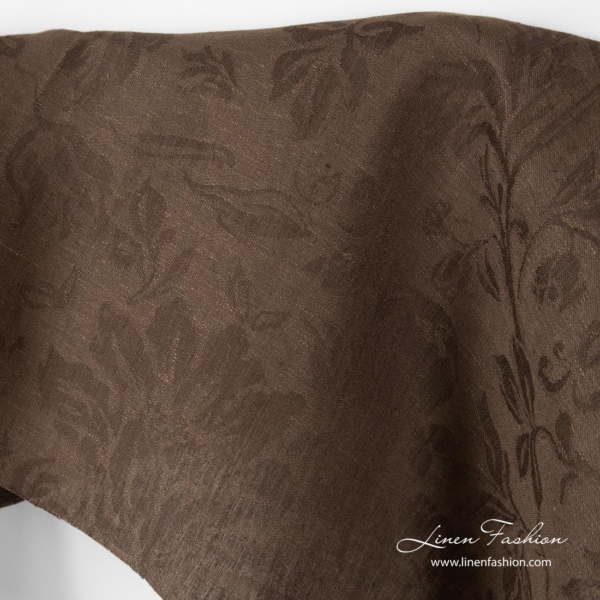 Jacquard linen fabric brown