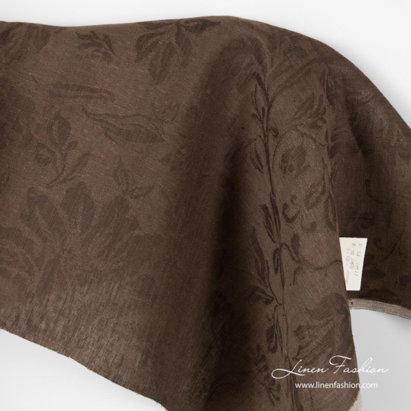 Brown jacquard linen fabric, floral pattern