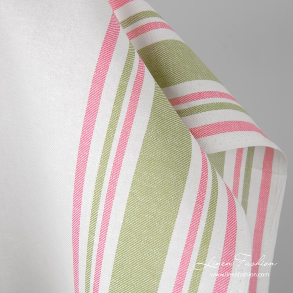 Linen cotton toweling fabric with pink, green stripes