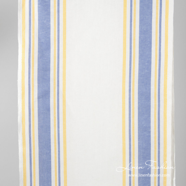 Narrow linen fabric, white with blue and yellow stripes