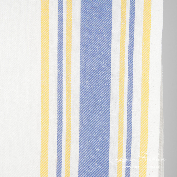 White narrow linen blend fabric in yellow, blue stripes