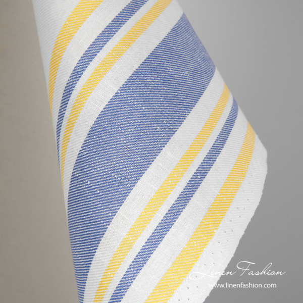 Linen cotton towel fabric with blue, yellow stripes
