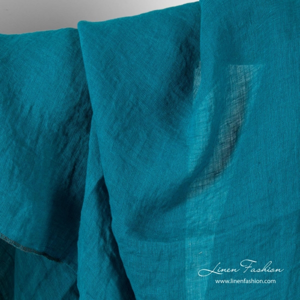 Turquoise linen fabric, washed