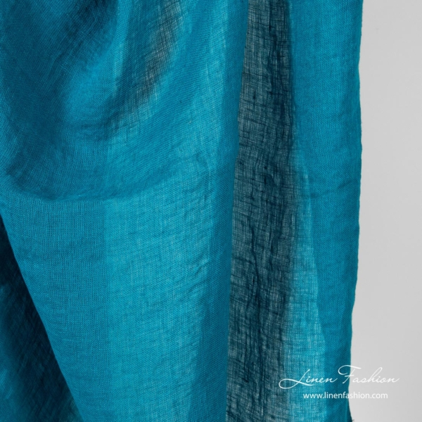 Turquoise 100% linen fabric, 100gsm