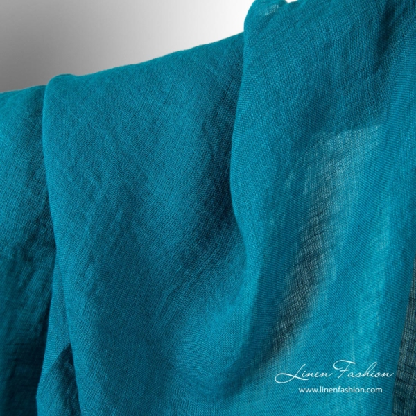 Lightweight linen fabric, turquoise color