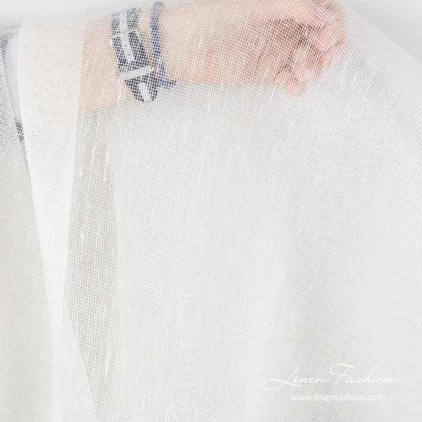 Transparent linen fabric in off white