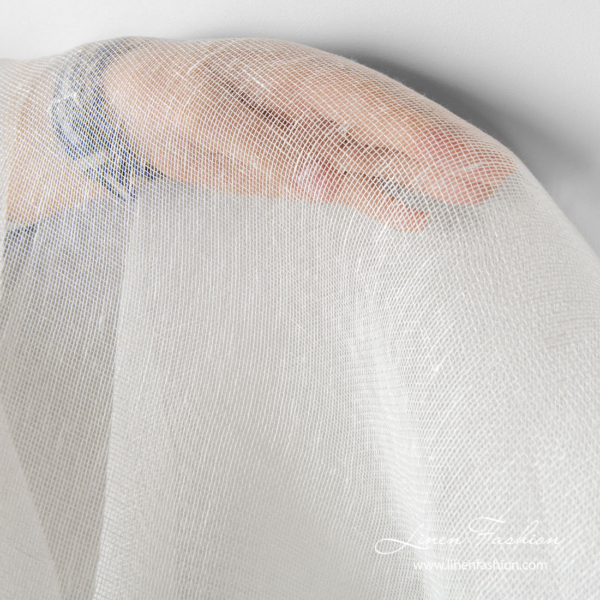 White 100% linen fabric see through