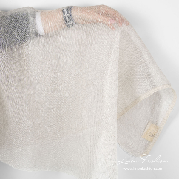 Transparent linen fabric white natural