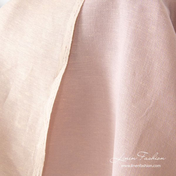 Two sided linen blend fabric in cream lilac color