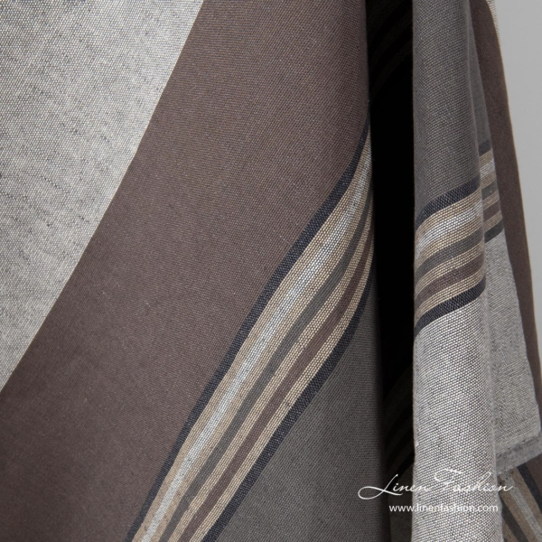Linen blend fabric with brown stripes
