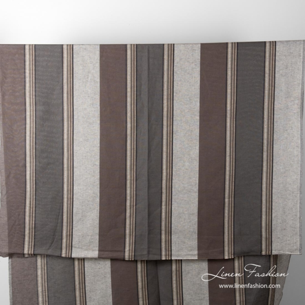 Full view of brown & grey striped linen cotton fabric