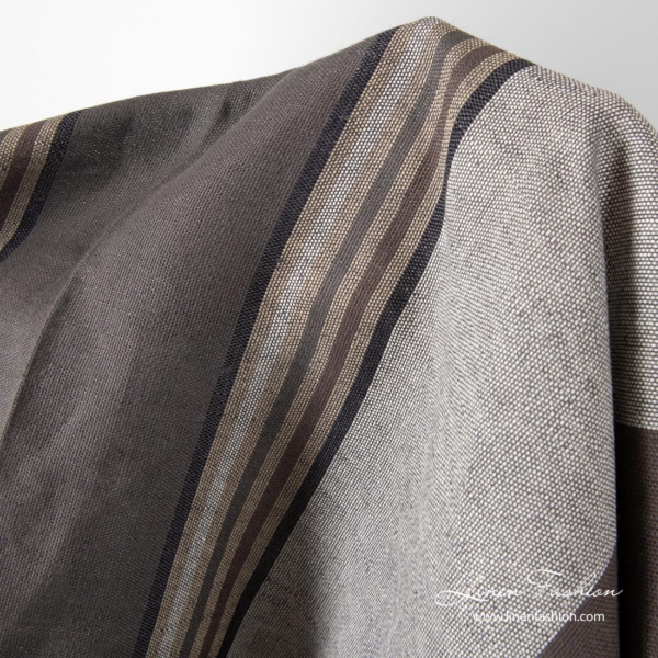 Linen fabric with brown grey stripes