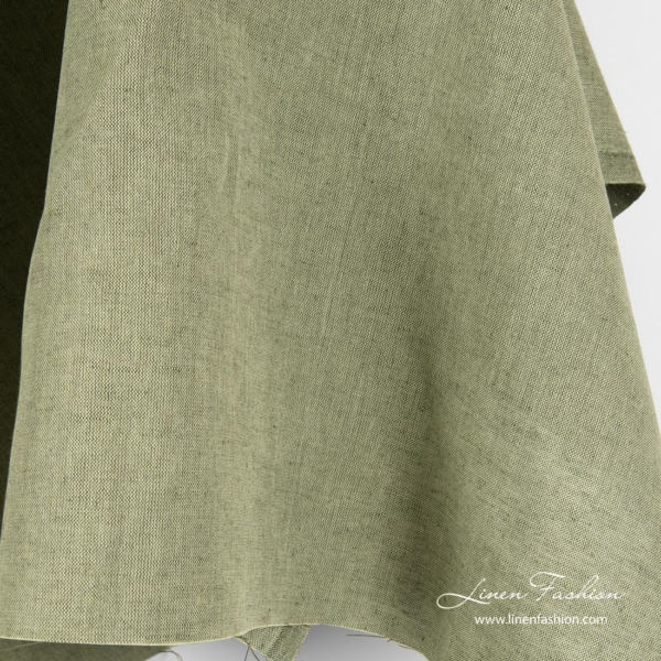 Linen cotton blend fabric in green melange color