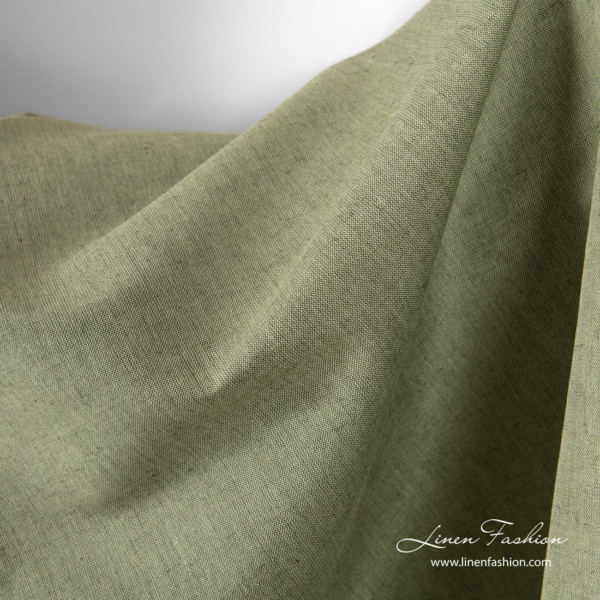 Green melange linen cotton fabric