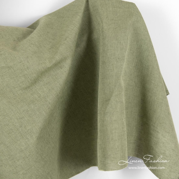 Linen cotton fabric, light and dark green melange