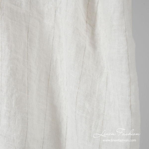 Washed gauze linen fabric, white with thin stripe