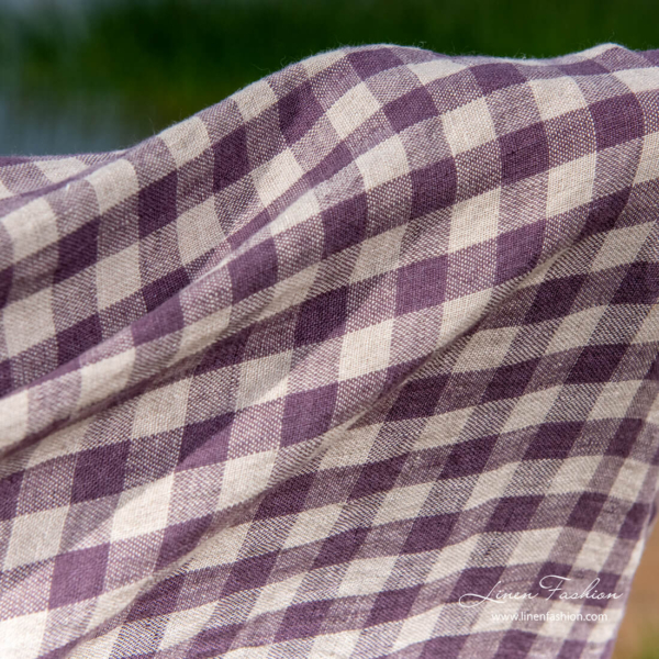 Beach towel with natural and purple checks
