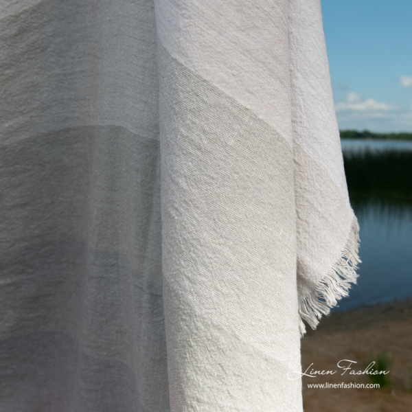 Linen blend beach towel with wide grey stripes