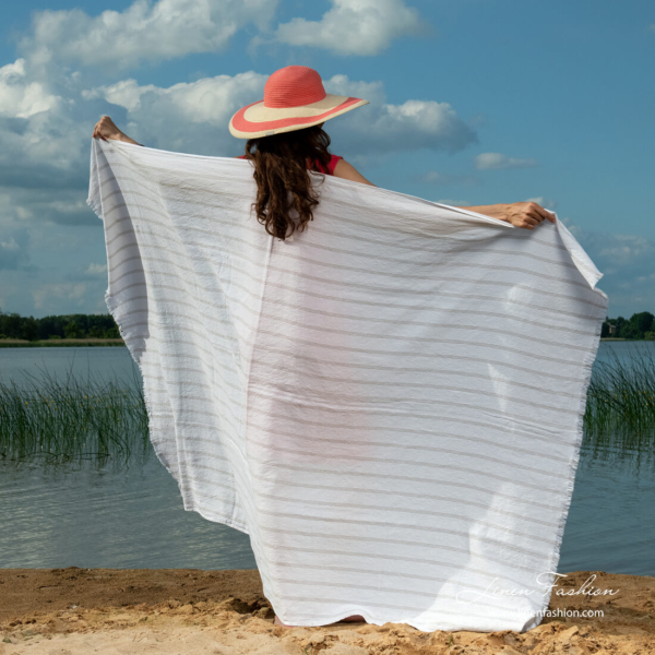 Linen white striped beach towel with fringes