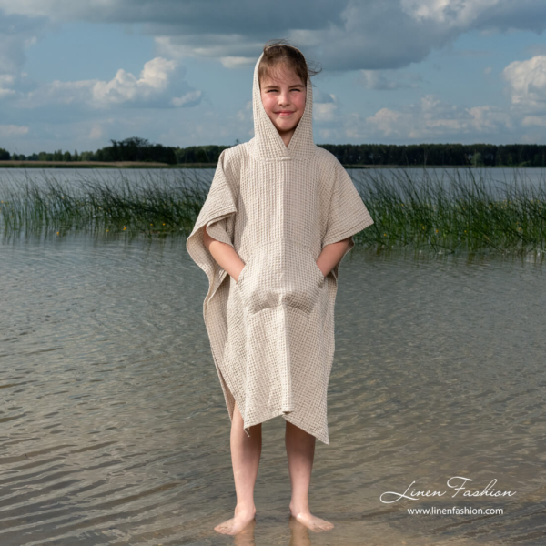 Linen blend poncho towel with hood