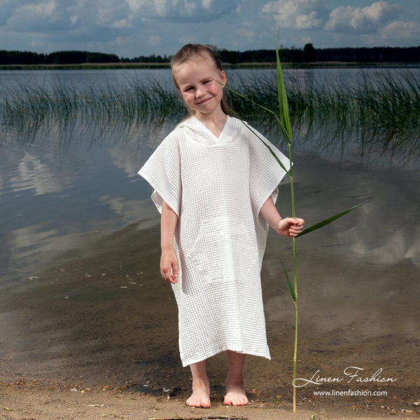 White linen poncho towel for kids