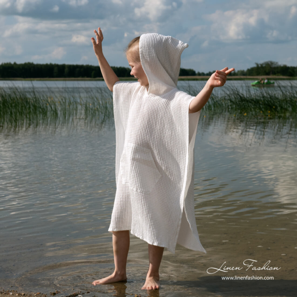 White linen poncho towel with hood