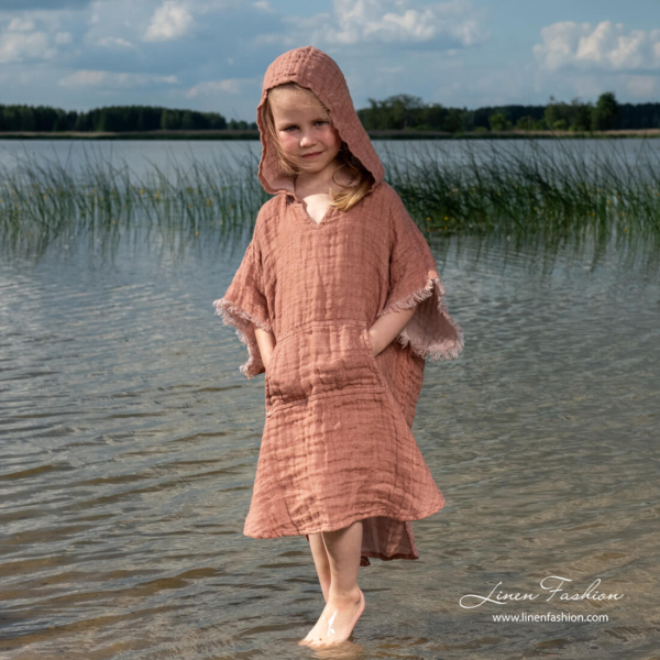 Brown kids linen poncho towel with pocket on front