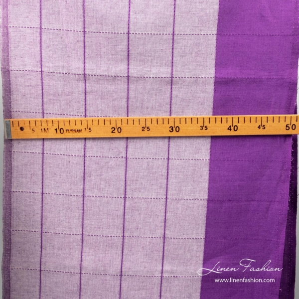 Linen cotton purple fabric with wide stripe and measurements