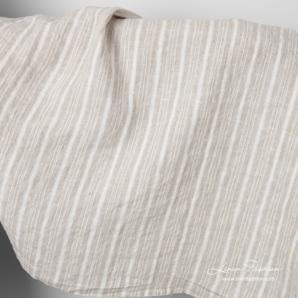 Natural linen fabric with white and flax color stripes