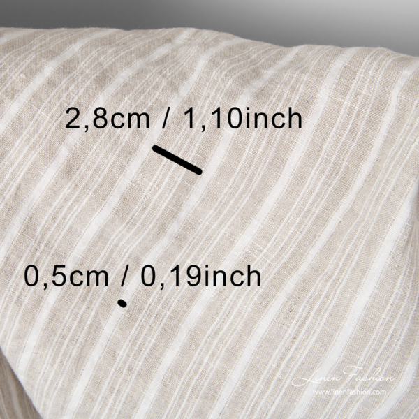 White/flax striped linen fabric with stripe measurements