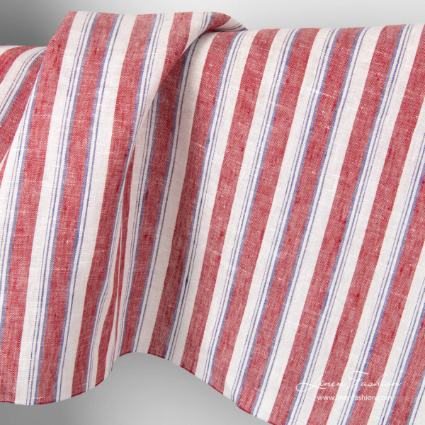 Linen fabric with purple, red and white stripes