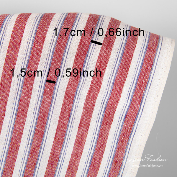 Striped linen fabric with measurements