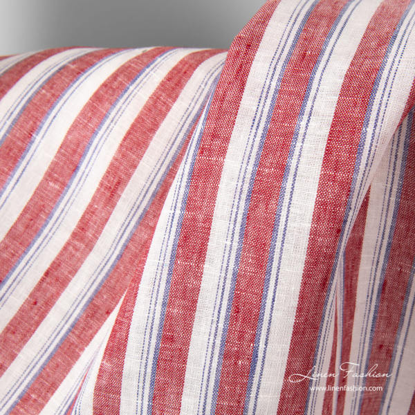 Linen fabric with red, white and thin purple stripes