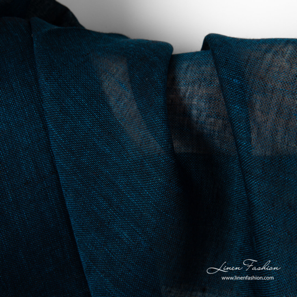 Pure linen fabric , black and blue color