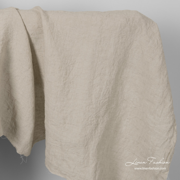 Wide linen fabric in sand colour, washed
