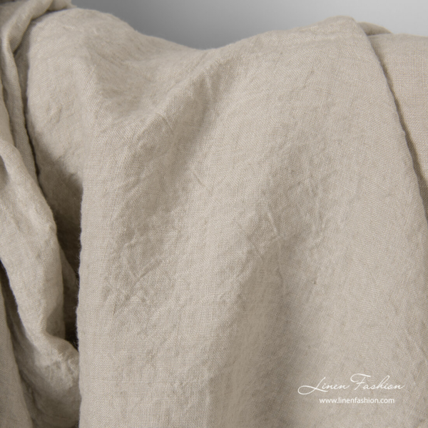 Washed sand colour linen fabric