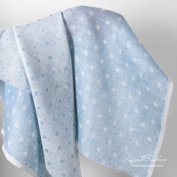 Sky blue linen bubble pattern fabric
