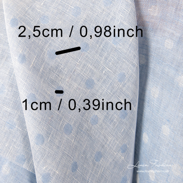 Light blue linen fabric with small bubbles