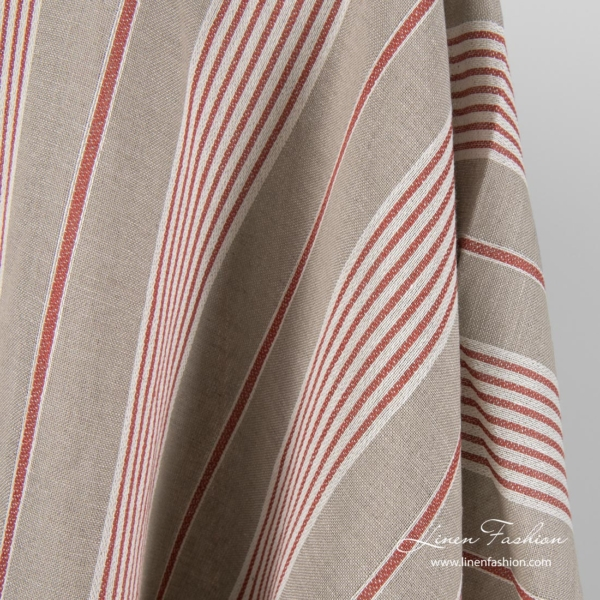Grey linen blend fabric with white, red stripes