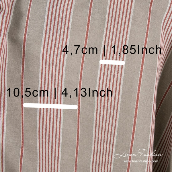 Linen blend fabric with white and red stripe width measures