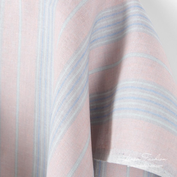 Pure linen fabric in vertical stripes, pastel colors